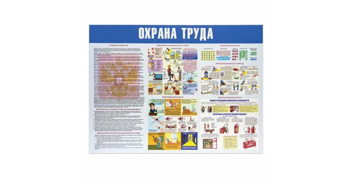 Купить Стенд Охрана труда 100х120см (4 плаката) в Москве