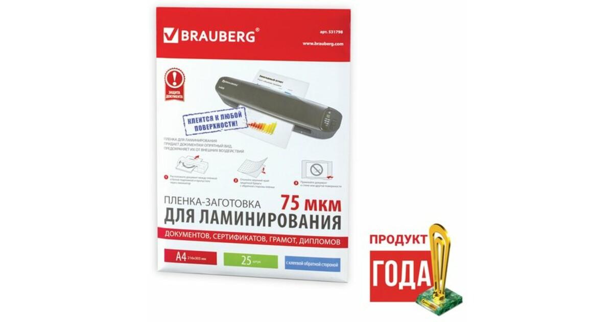 Пленки-заготовки для ламинирования АНТИСТАТИК BRAUBERG, комплект 100 шт., для формата A4, 100 мкм - купить на cайте ОФИСМАГ. Недорого, доставка.