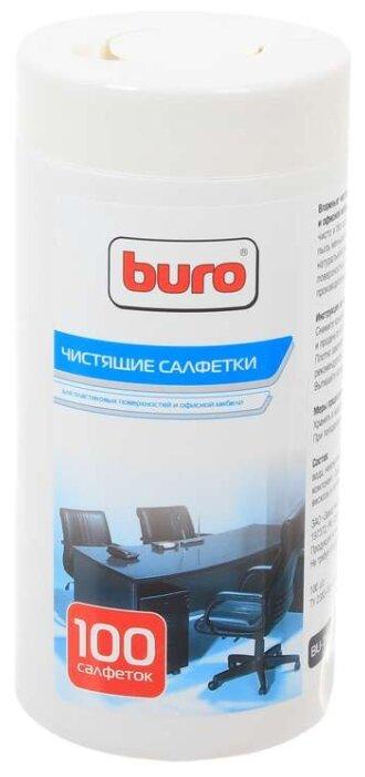 Салфетки Buro BU-Tsurl для пластиковых поверхностей и офисной мебели туба 100шт влажных - купить по низкой цене в интернет-магазине - Неогид
