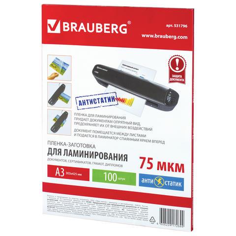 Пленки-заготовки для ламинирования, комплект 100 шт., для формата А5, 150 мкм, BRAUBERG 531783
