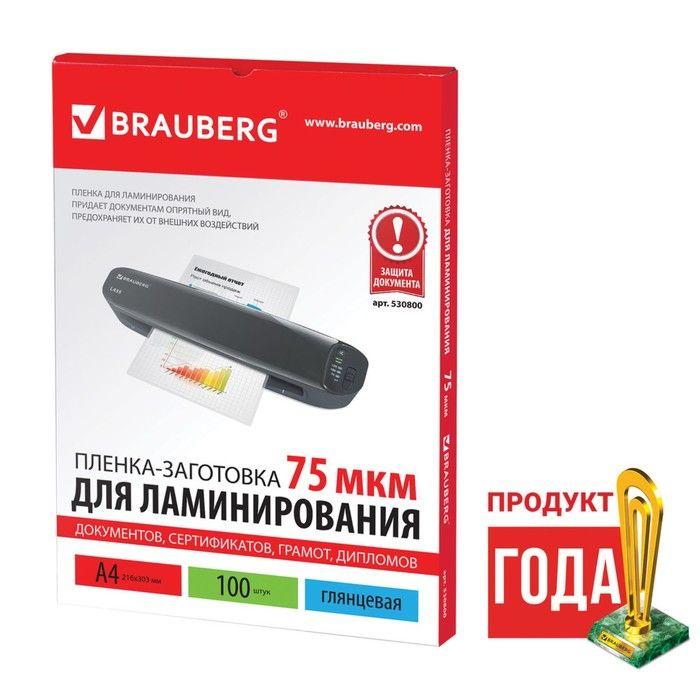 Пленки-заготовки для ламинирования АНТИСТАТИК BRAUBERG, комплект 100 шт., для формата A4, 100 мкм — BRAUBERG